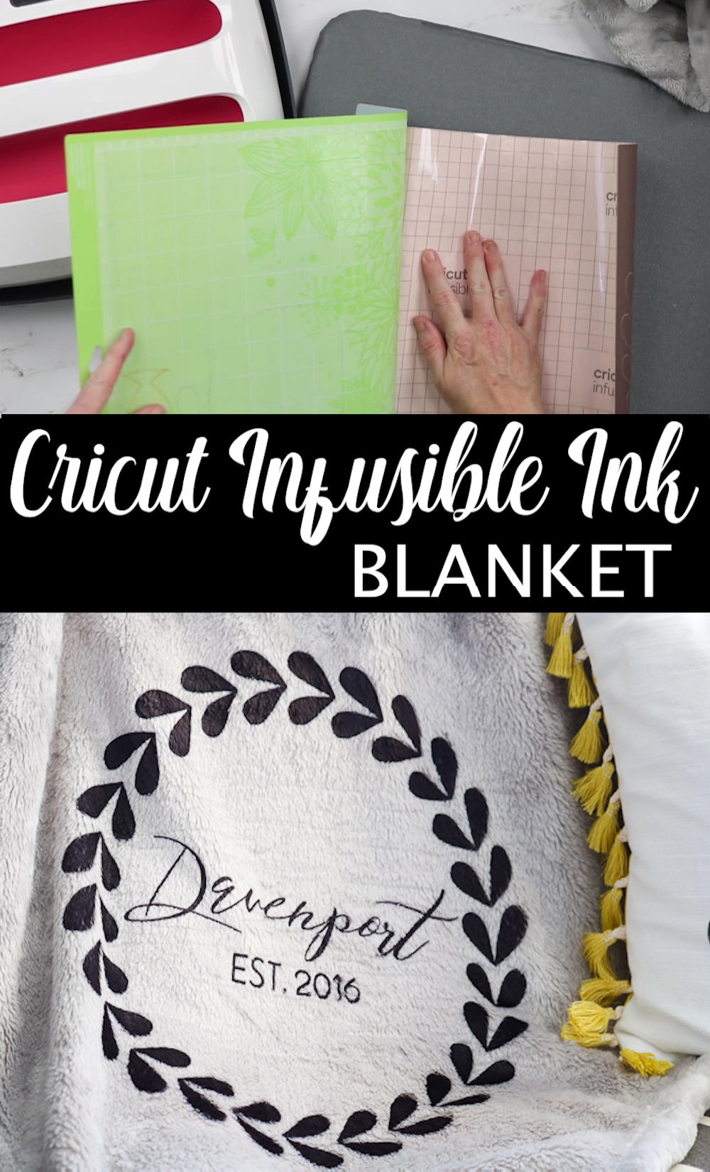 Did you know that Cricut Infusible Ink will work on a 100% polyester blanket? Customize this project for wedding showers and other gifts! It is the perfect way to give a personalized gift idea that anyone will love! #cricut #cricutcreated #infusibleink #cricutinfusibleink #cricutexplore #cricutmaker #blanket #weddings #weddinggift #giftidea #custom #personalized