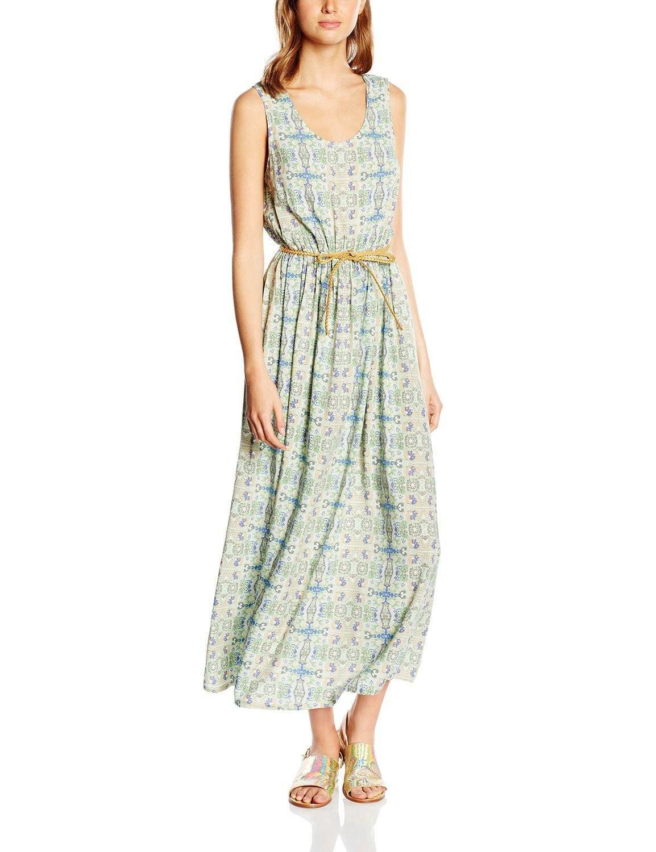 Vestido moda hipster mujer sin mangas con diseño print multicolor en fondo verde, ideal para esta primavera - verano.