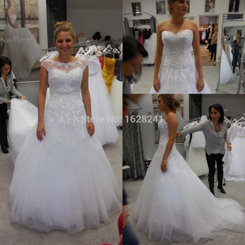Encontrar Más Vestidos de Novia Información acerca de Nuevo diseño de una línea de vestido de novia Sheer Cuello 2015 con tanque embelished con los granos del cristal de tul y encaje vestido de novia Corte tren, alta calidad wedding gowns bridesmaid dresses, China wedding bedsheet Proveedores, barato wedding dress corset ribbon de True Love Bridal dress Co., Ltd.  en Aliexpress.com