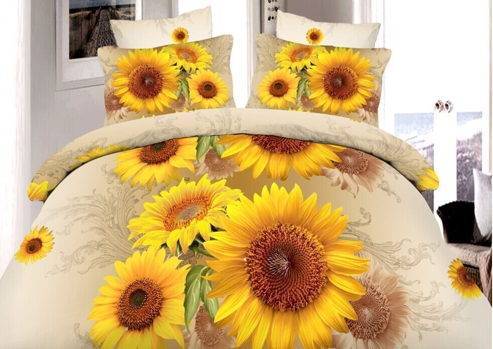 3d 14047 Duvet Cover Pillow Case Quilt Cover Bedding Set Double Queen Sunflower Ebay Bedding Sets Quilt Sets Bedding Cute Bed Sets