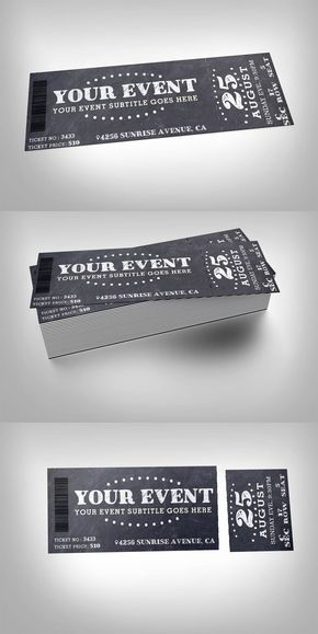 Chalkboard event ticket Template #design Buy Now https - event tickets template