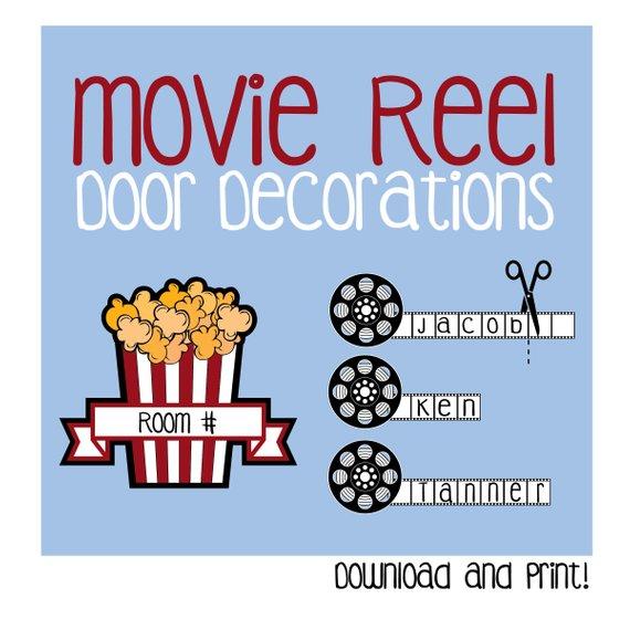 graphic regarding Printable Door Decs named Online video Reel Doorway Decoration / Printable / Cinema / Popcorn