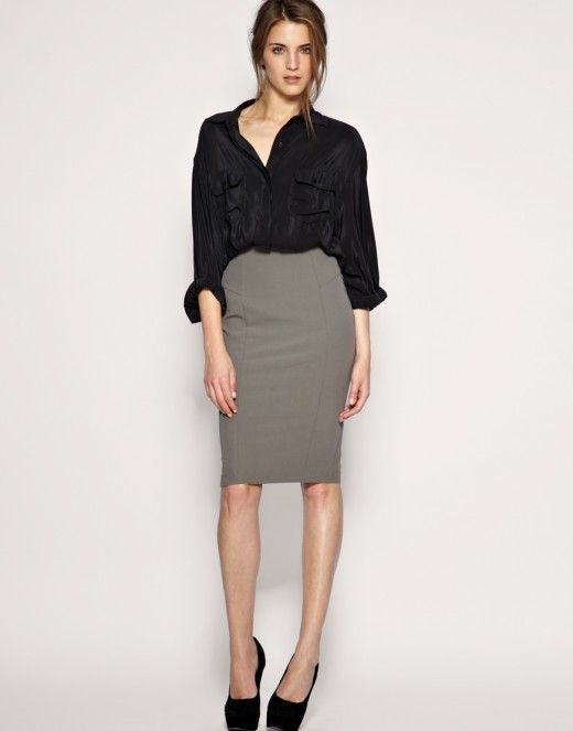 Office formal look - black shirt and pencil grey skirt. Black ...