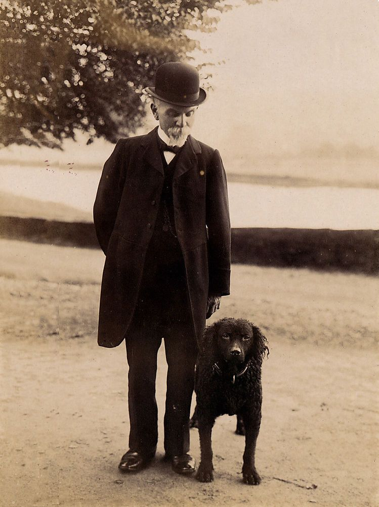 CURLY COATED RETRIEVER OLD GENTLEMAN AND DOG PHOTO PRINT