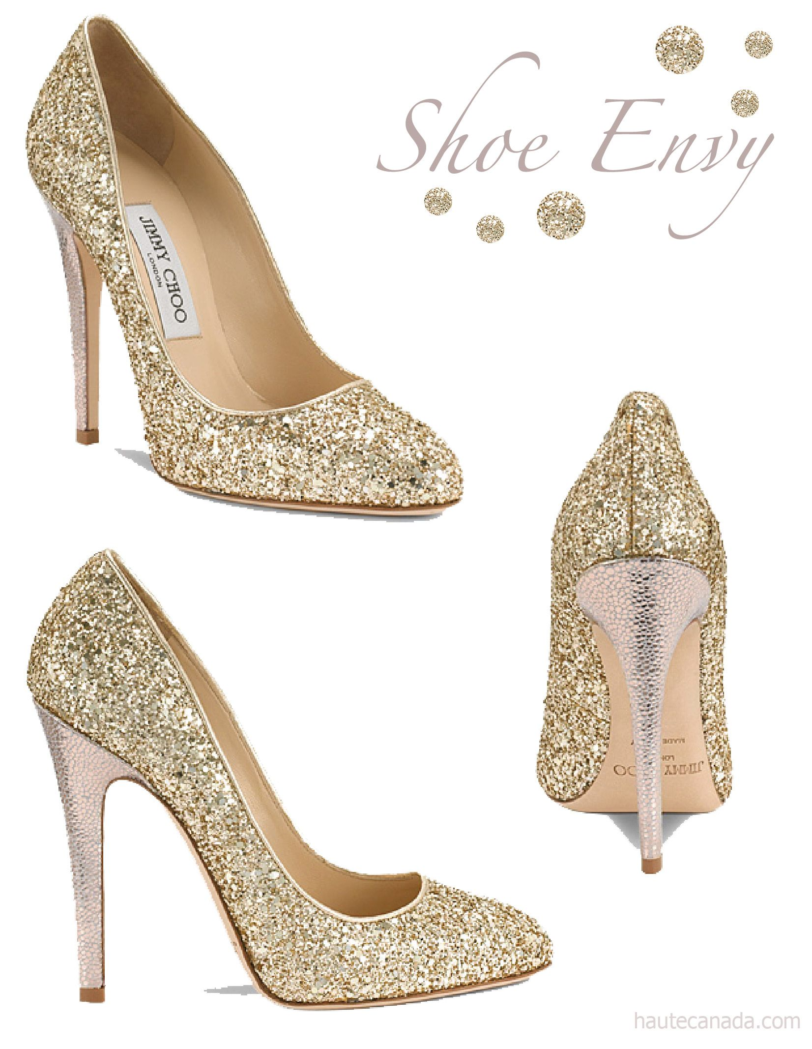 Shoe Envy: Jimmy Choo – Victoria, Gold Glitter Pumps | Haute by .