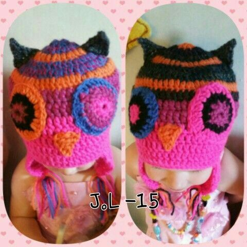 Crochet owl beanie. Virkattu pöllö pipo.