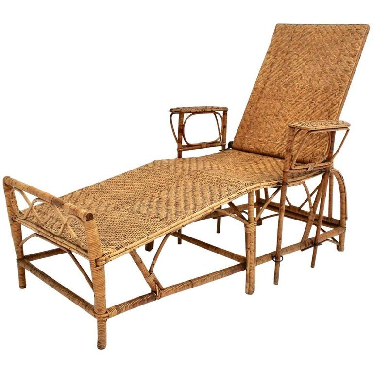 Rattan Art Deco Vintage Chaise Longue By Perret And Vibert Attributed France 1920s Chaise Longue Rattan Leather Chaise