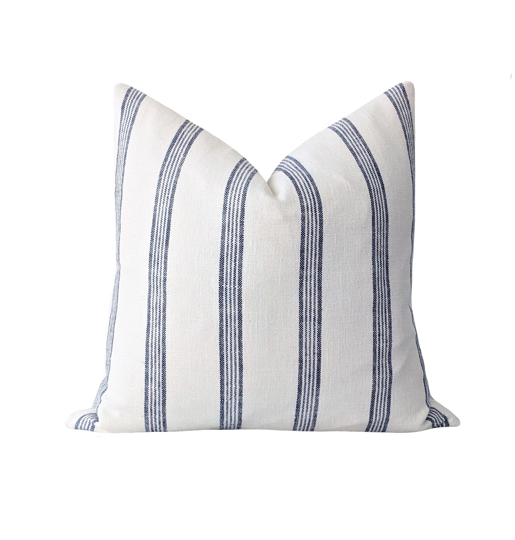Navy Stripe Pillow Cover French Stripe Pillow Cover 18 20 22 Etsy Blue French Country Stripe Pillow French Stripes