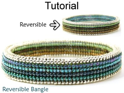 Beaded Reversible Bangle Bracelet Downloadable PDF Beading Pattern Tutorial…
