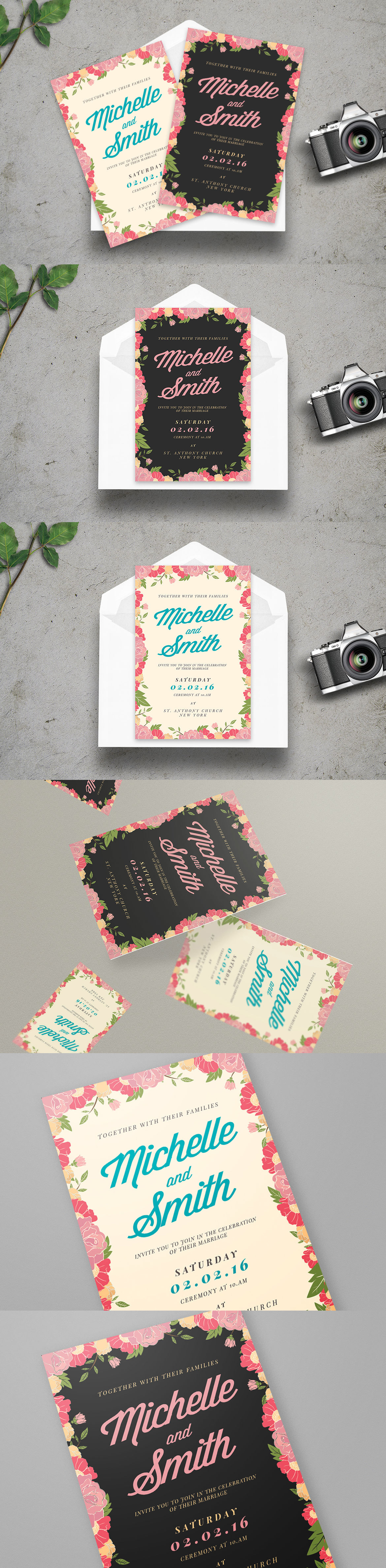 Floral Wedding Invitation Card Template PSD