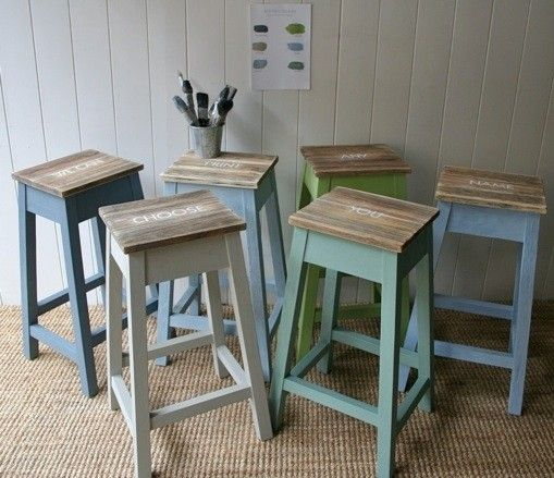Wood Hand Painted Bar Stools Foter IKEA Pinterest