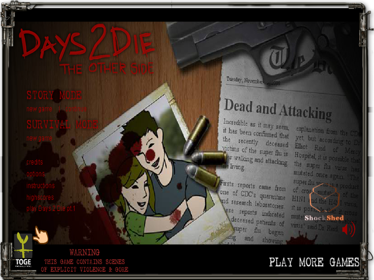 Days to Die The Other Side Zombie Game on Shock Shed