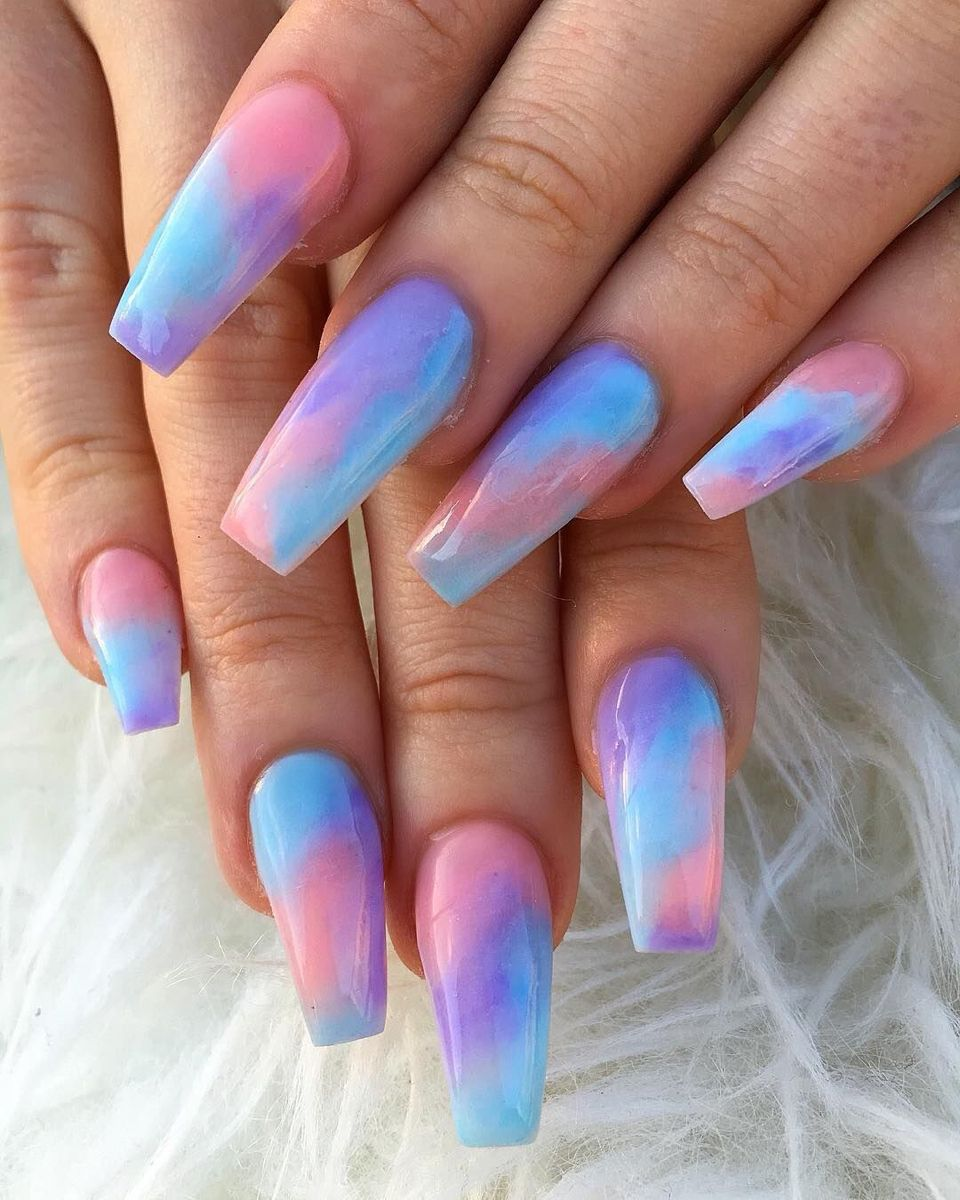 Pin By Guada Ottobre On Nail Designs In 2020 Tie Dye Nails Purple Acrylic Nails Vibrant Nails