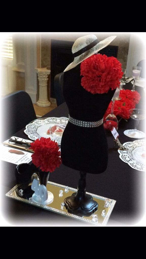 Hats and heels centerpiece birthday party