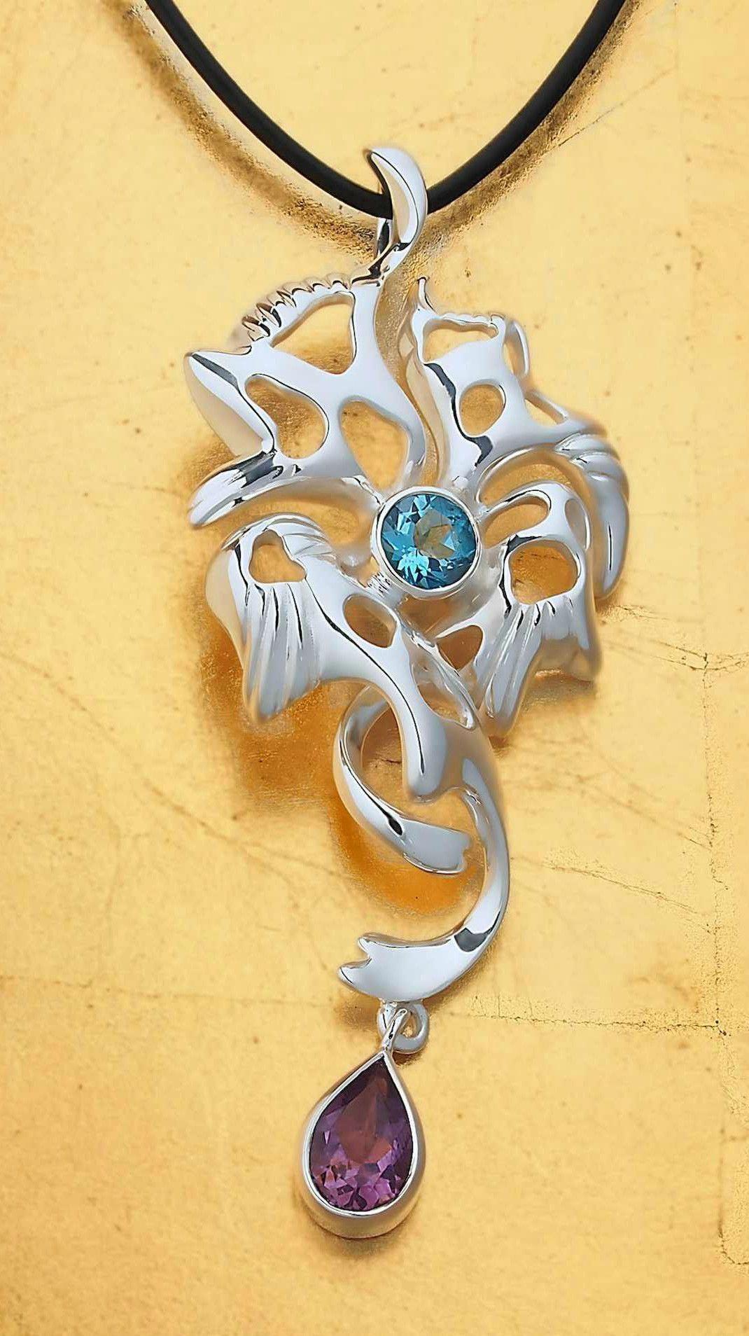 Large massive huge long big pendant necklace sterling silver blue