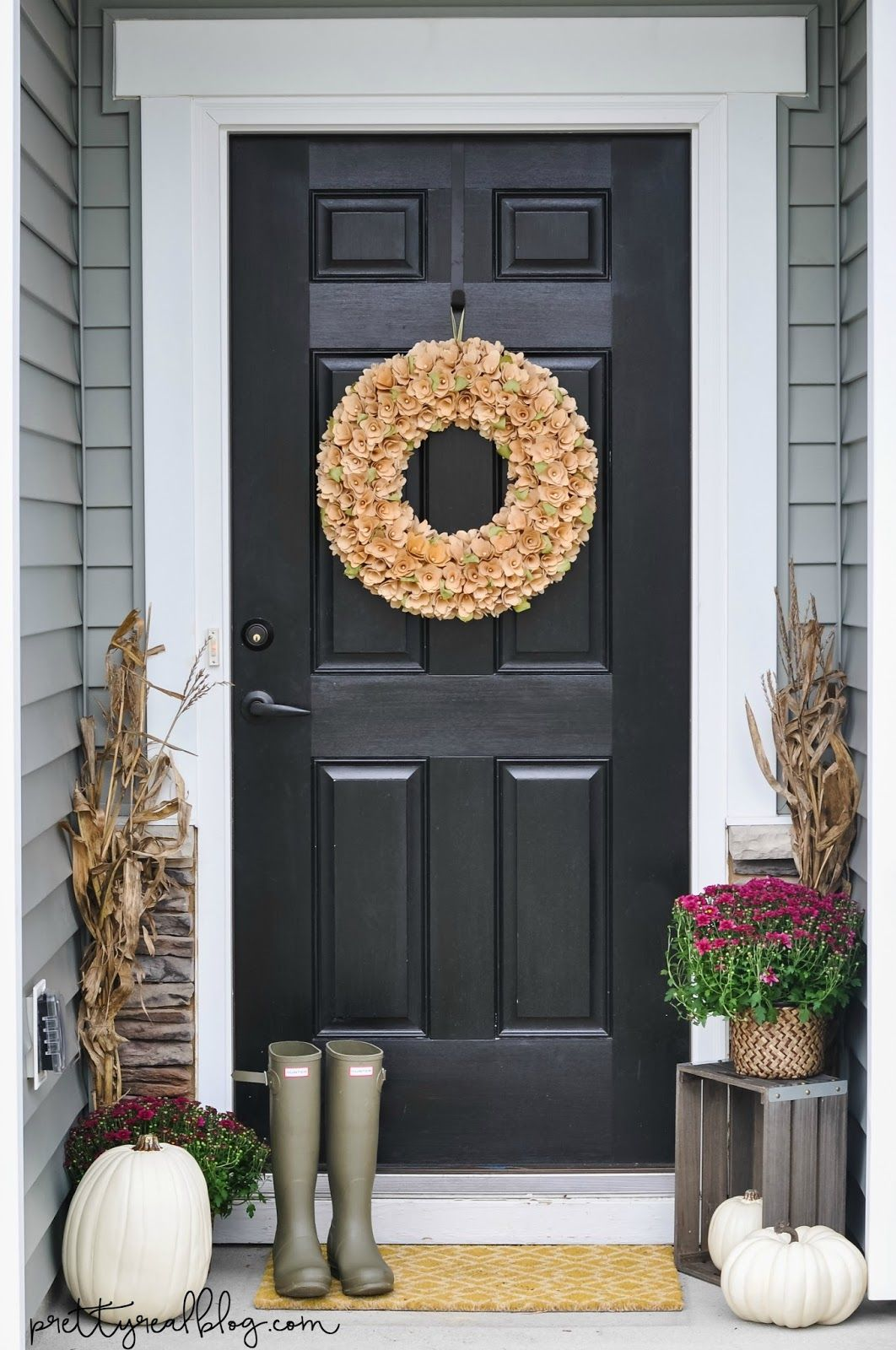 Pretty Real A Few Splashes Of Fall Mantle Pillows And Front Door Decor Fall Door Decorations Front Door Fall Decor Front Door Decor