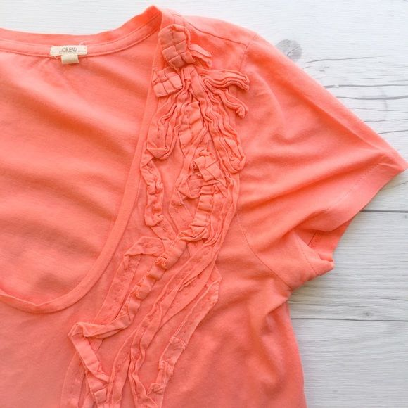 NEW JCrew Ruffle Front Tee Adorable coral colored tissue tee from J Crew with ruffle accent across the front. Gently worn - no rips or stains. J. Crew Tops Tees - Short Sleeve