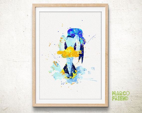 Donald Duck   Watercolor, Art Print, Home Wall Decor, Kids Gift, Disney