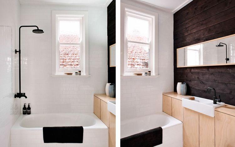 meuble de salle de bain chêne blanchi, mur bois foncé et carrelage