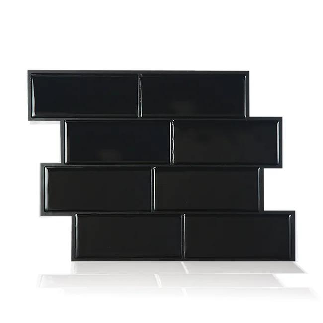 Credence Adhesive Imitant Carrelage Metro Nero Noir L 29 36 X L 21 29 Cm Smart Smart Tiles En 2020 Carrelage Metro Credence Adhesive Et Carrelage Mosaique