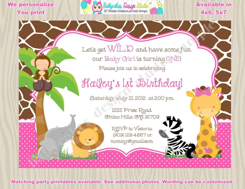 Safari animals invitation jungle animals invitation wild one safari ...