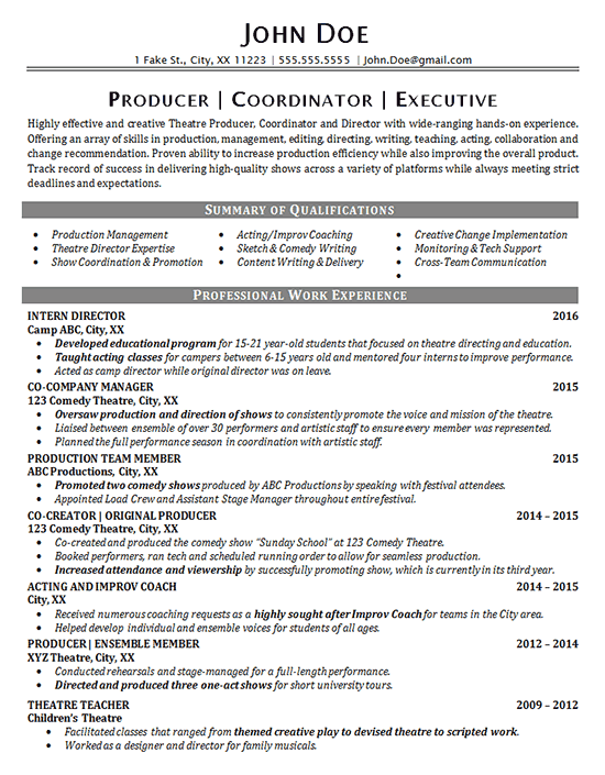 Theater Resume Template Theater Resume Example Entertainment Production Fine Arts Theatre