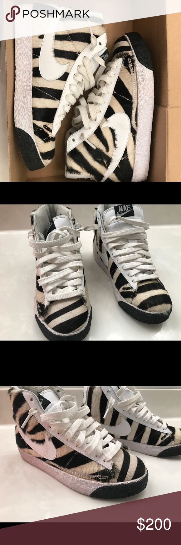 the latest d7f31 73a23 ... closeout limited edition pony hair zebra blazers limited edition. these nike  blazers come with pony