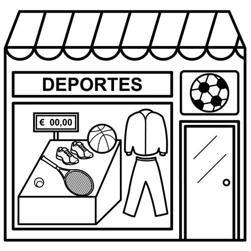 Dibujos De Tiendas Para Colorear Tiendas Tiendas De Deportes Actividades Con Silabas