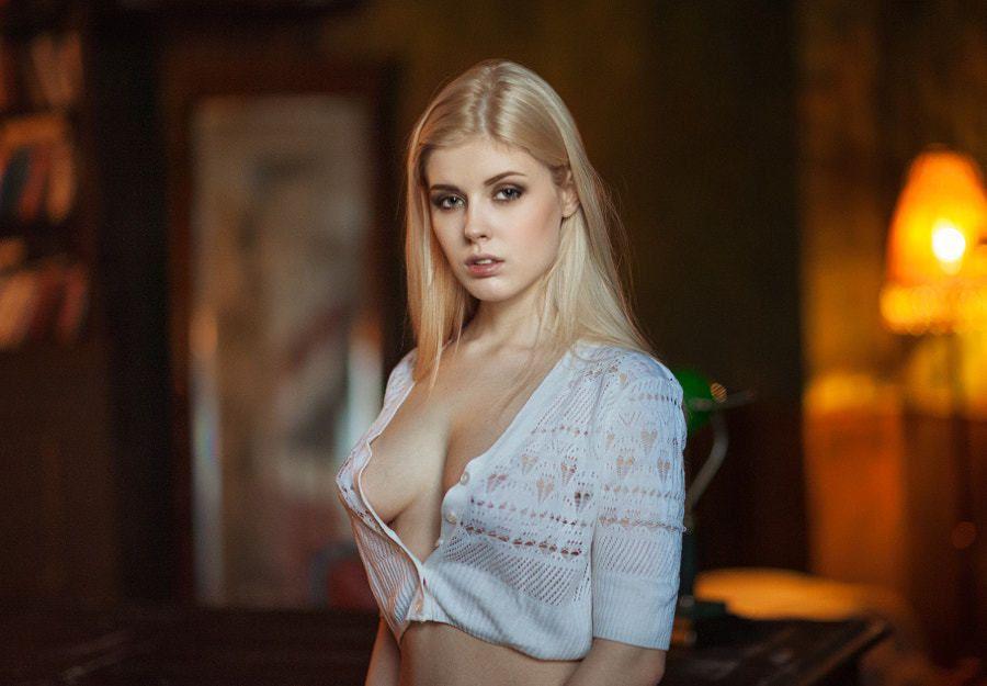 women, Blonde, Face, Maxim Guselnikov, Portrait, Depth Of