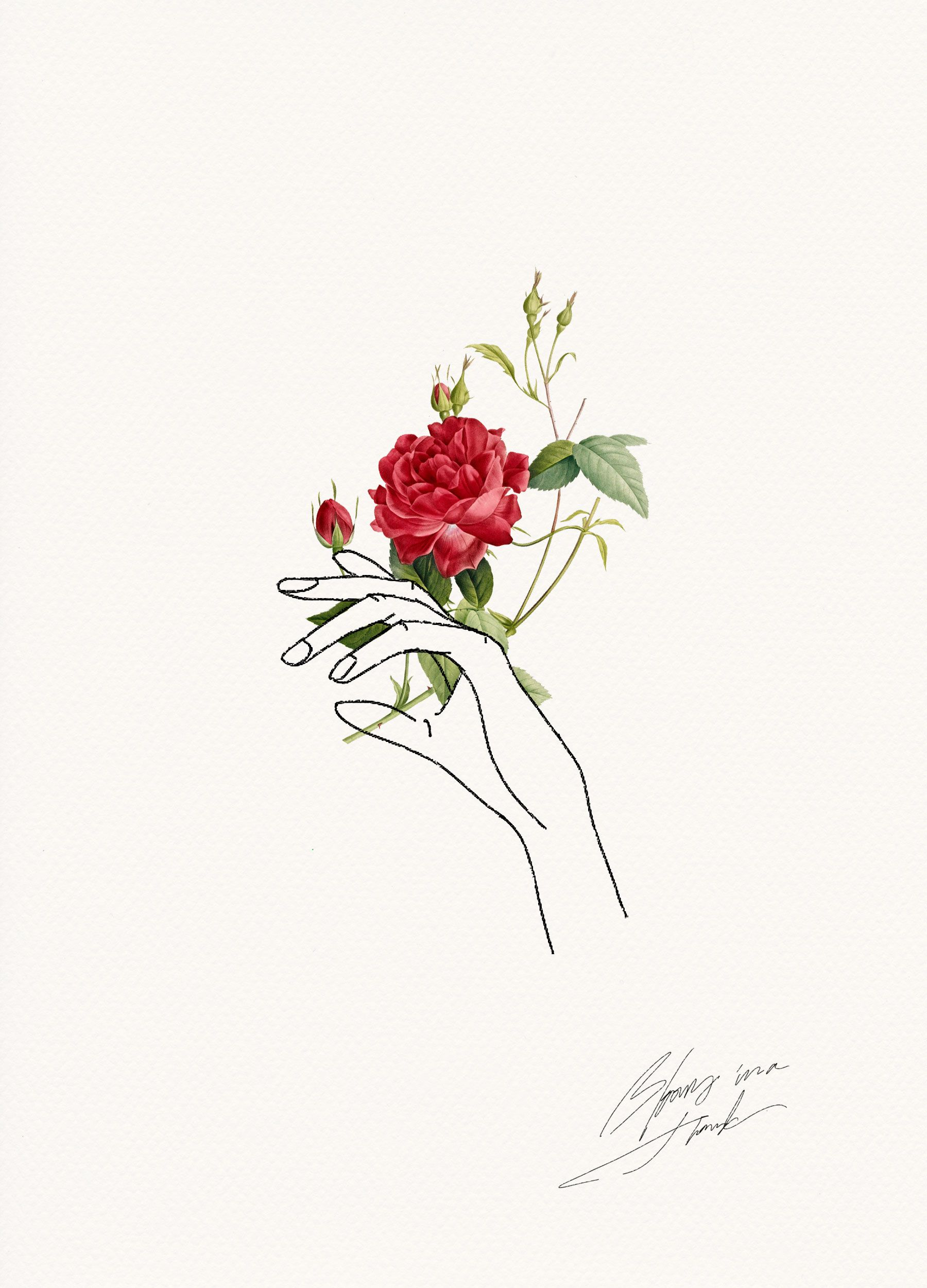 holding flowers design pinterest art drawings and line art rh pinterest com