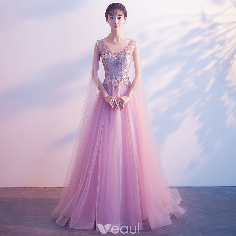 d5de5749582 Elegant Candy Pink See-through Evening Dresses 2018 A-Line   Princess Scoop  Neck Sleeveless Appliques Lace Beading Watteau Train Ruffle Backless Formal  ...