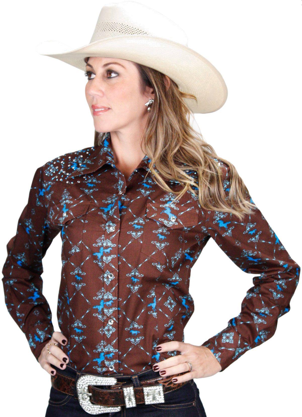 4542e7a78d camisa feminina Marrom Manga Longa Importada com Strass e Botão de Pressão  camisa feminina marrom
