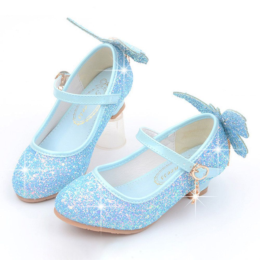 Girls Shining Sequined Butterfly Pattern Princess Kitten Heel Shoes Kitten Heel Shoes Kid Shoes Water Shoes For Kids