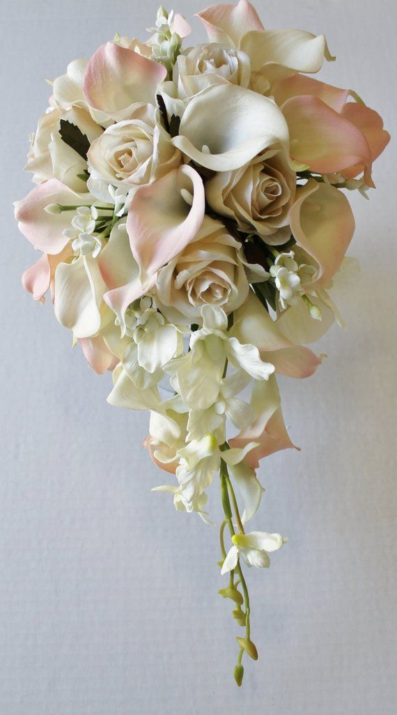 Cascade Wedding Calla Lily Bouquet Ivory Blush Bouquet Bridal Bouquet Real Touch Blush Calla Lily Bridal Bouquet Wedding Bouquets