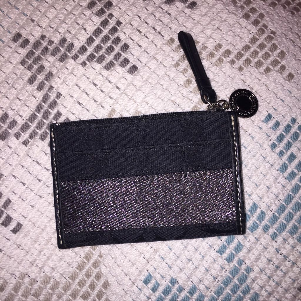 Coach Metallic Coin Purse, Card Holder Black