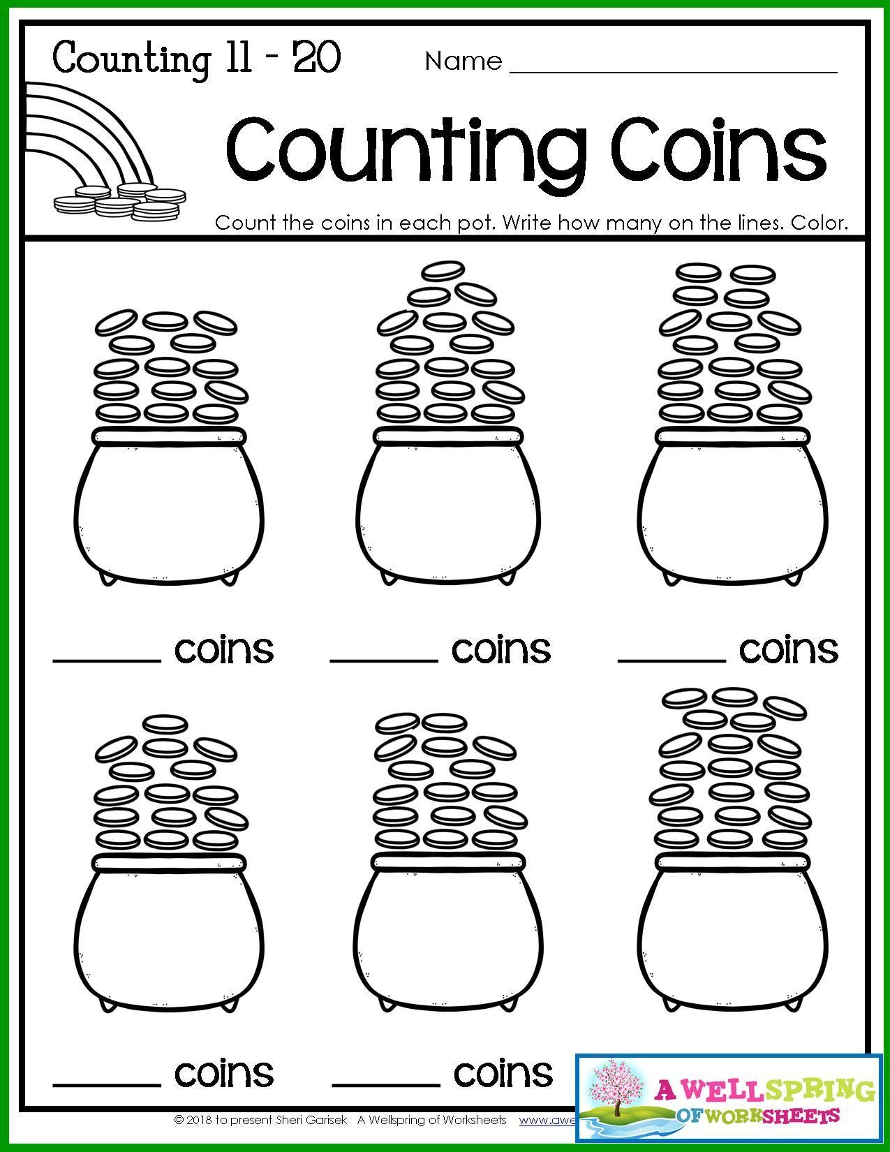 St Patrick\'s Day Counting Worksheets | Comparing numbers, Number ...