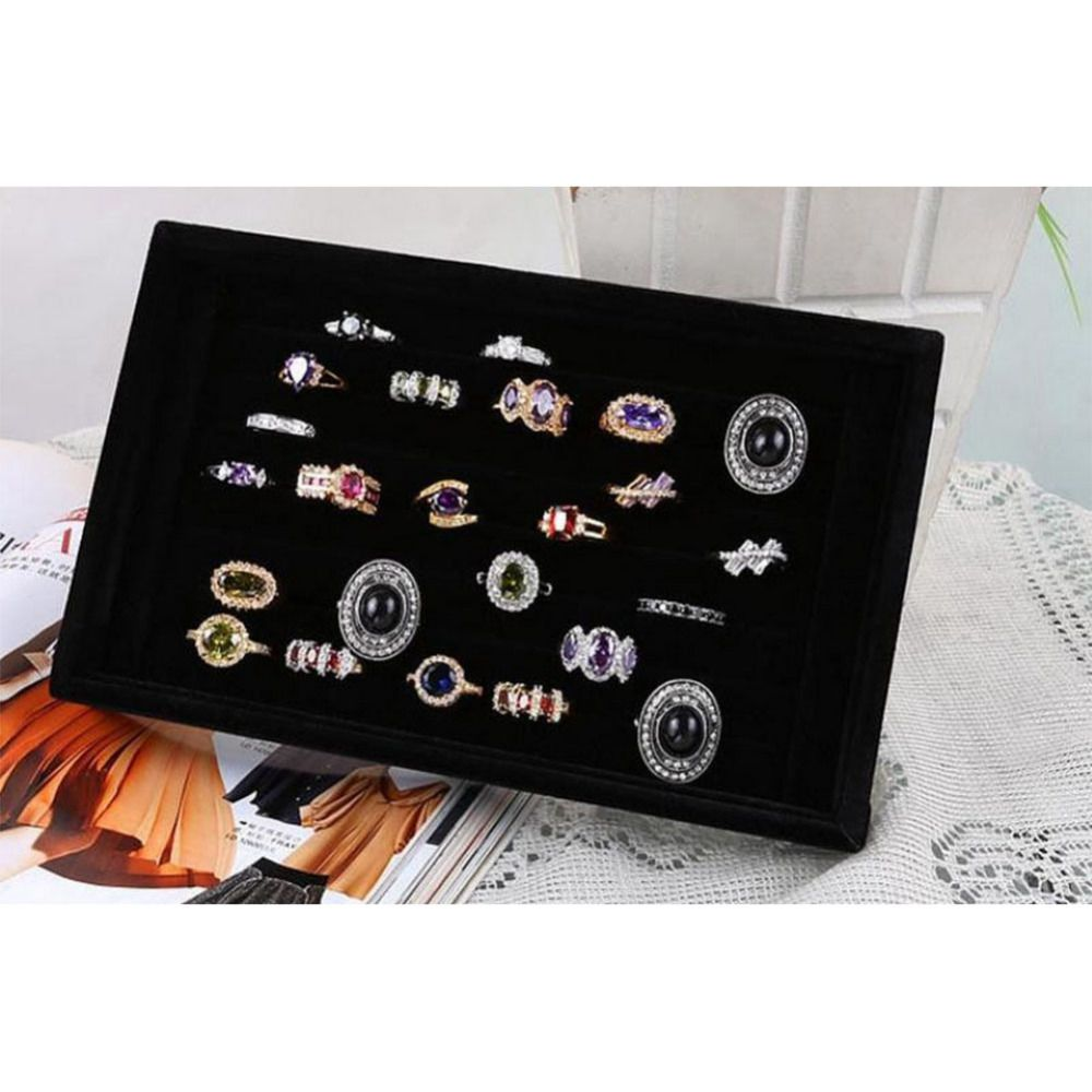 Jewelry Storage Tray Finger Ring Jewellery Display Case Necklace