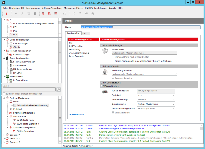 Ncp Optimiert Sein Vollautomatisches Vpn Management System Verwaltung Einstellungen Vorlagen