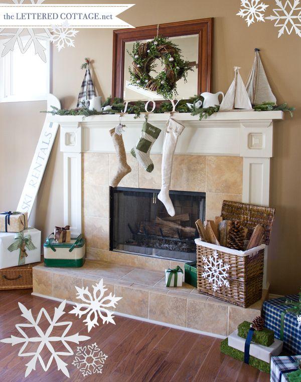 Christmas beach house   Christmas mantle decor