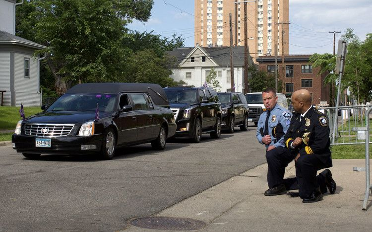police officers kneel as hearse carrying george floyd s body passes newsweek in 2020 george police officer memorial service pinterest