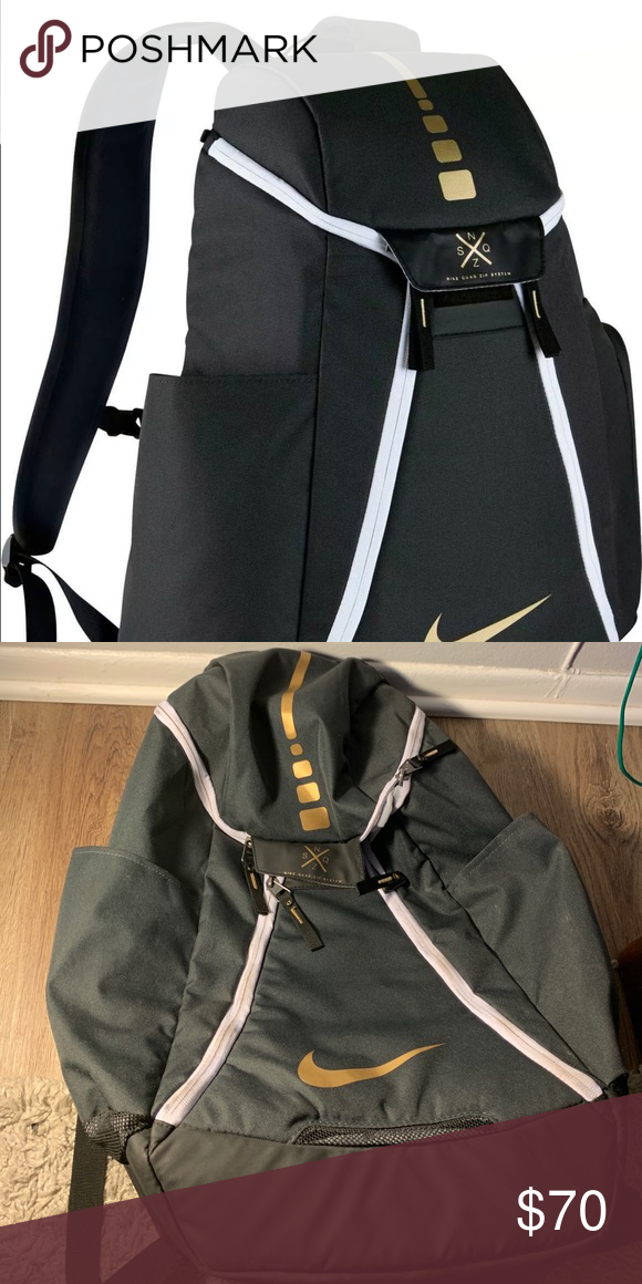 121725b804e49 Nike Elite Backpack, Black and Gold NIKE ELITE BAG BLACK AND GOLD.  Condition is Pre-owned. Shipped with USPS Priority Mail. Only used a  handful times and ...
