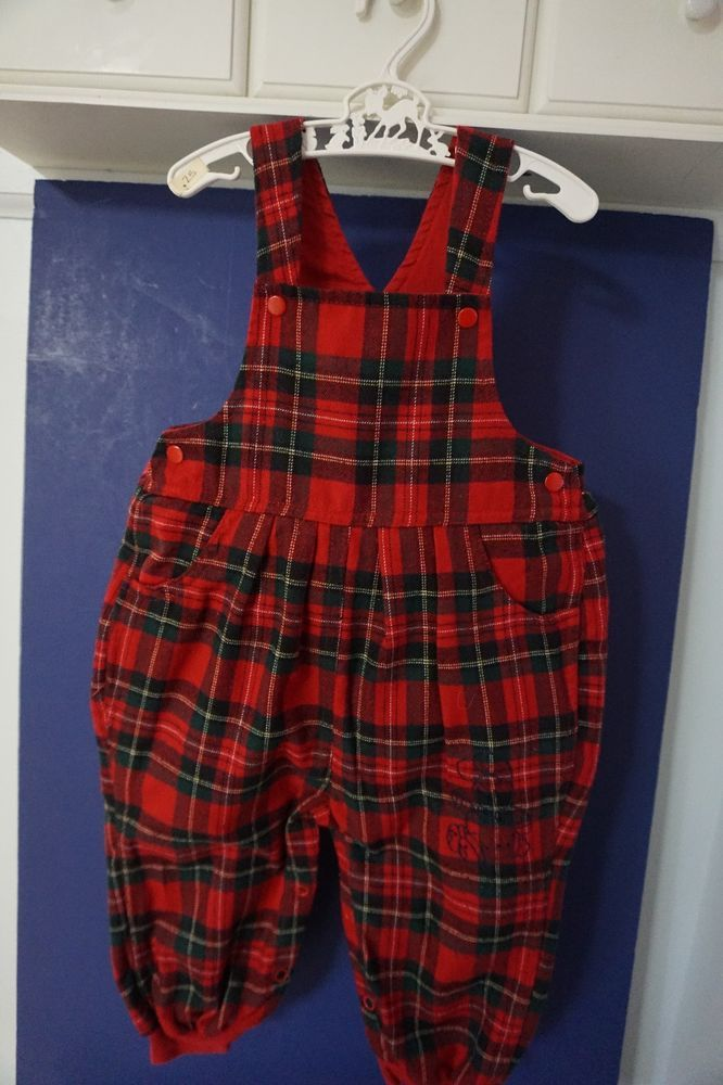 red plaid lined overalls/bibbed pants 12 mo. by Baby Place boy or girl #BabyPlace #Overalls