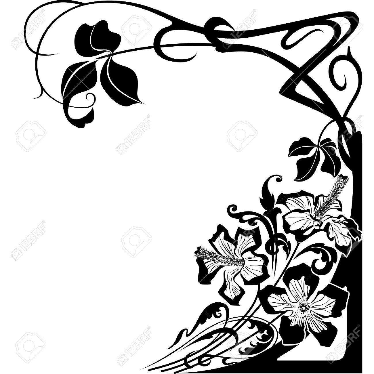 Flowers And Floral Design In Art Nouveau Style. Royalty