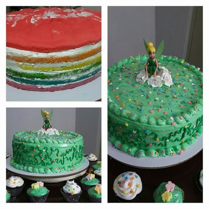 Tinkerbell Themed Rainbow Cake And Chocolate Cupcakes With Boiled