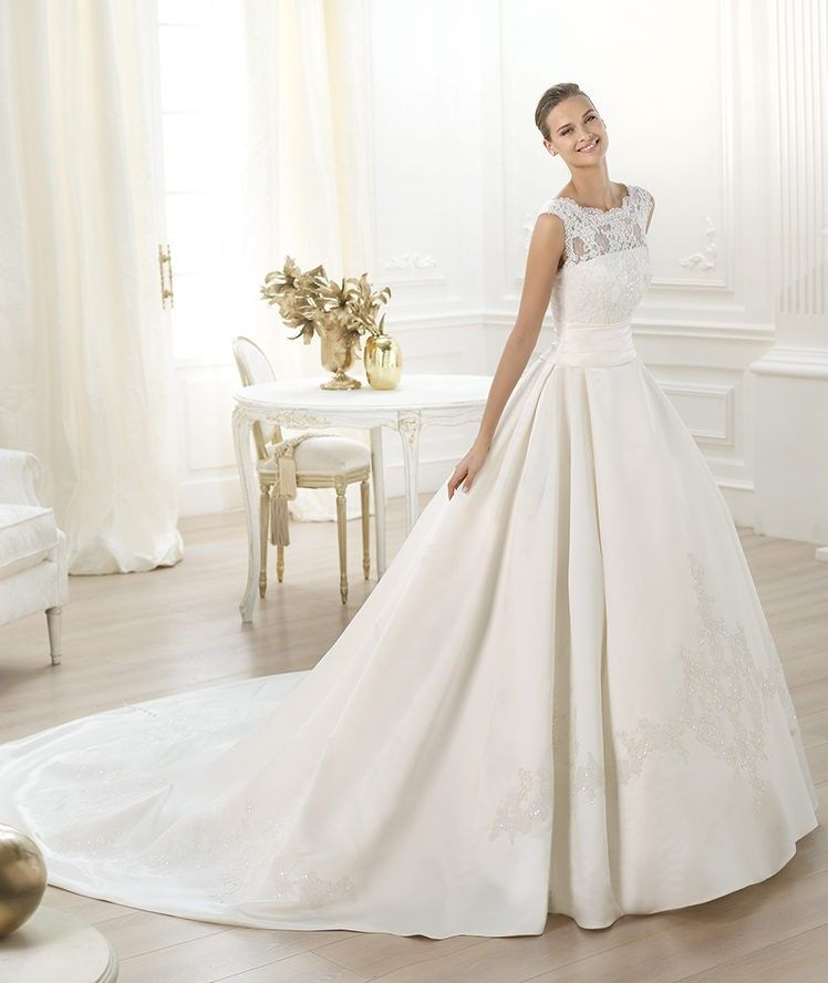 Tank Top Cathedral Royal Train Satin Ball Gown Wedding Dress