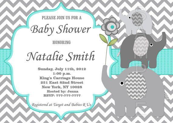 Baby Shower Invitation Elephant Baby Shower By Diymyparty Plantillas De Invitación Para Baby Shower Invitaciones De Baby Shower De Varón Boy Baby Shower Ideas