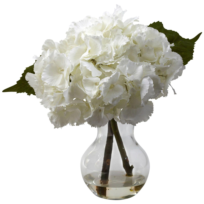 Silk Hydrangea Centerpiece, White