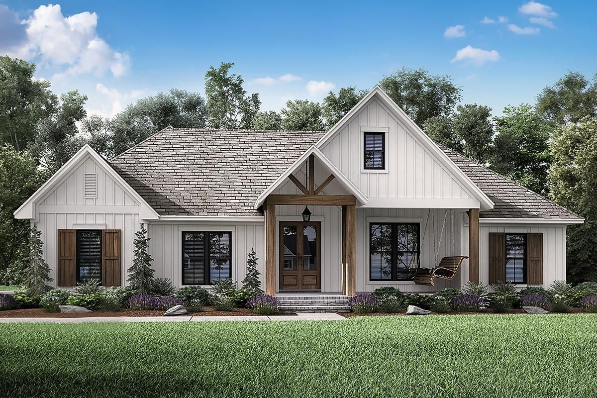 This stunning, 2,201 sq. ft Modern Farmhouse home offers 3 bedrooms, 2.5 bathrooms, a bonus room, a vaulted great room, and a 2 car garage. Explore Plan 041-00190 on our website.