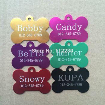 6 colores 50 mm X 37 mm formados hueso de animal doméstico etiqueta de la identificación del grabado de encargo personalizada nombre grabado placa correa Collar de perro etiqueta de perro