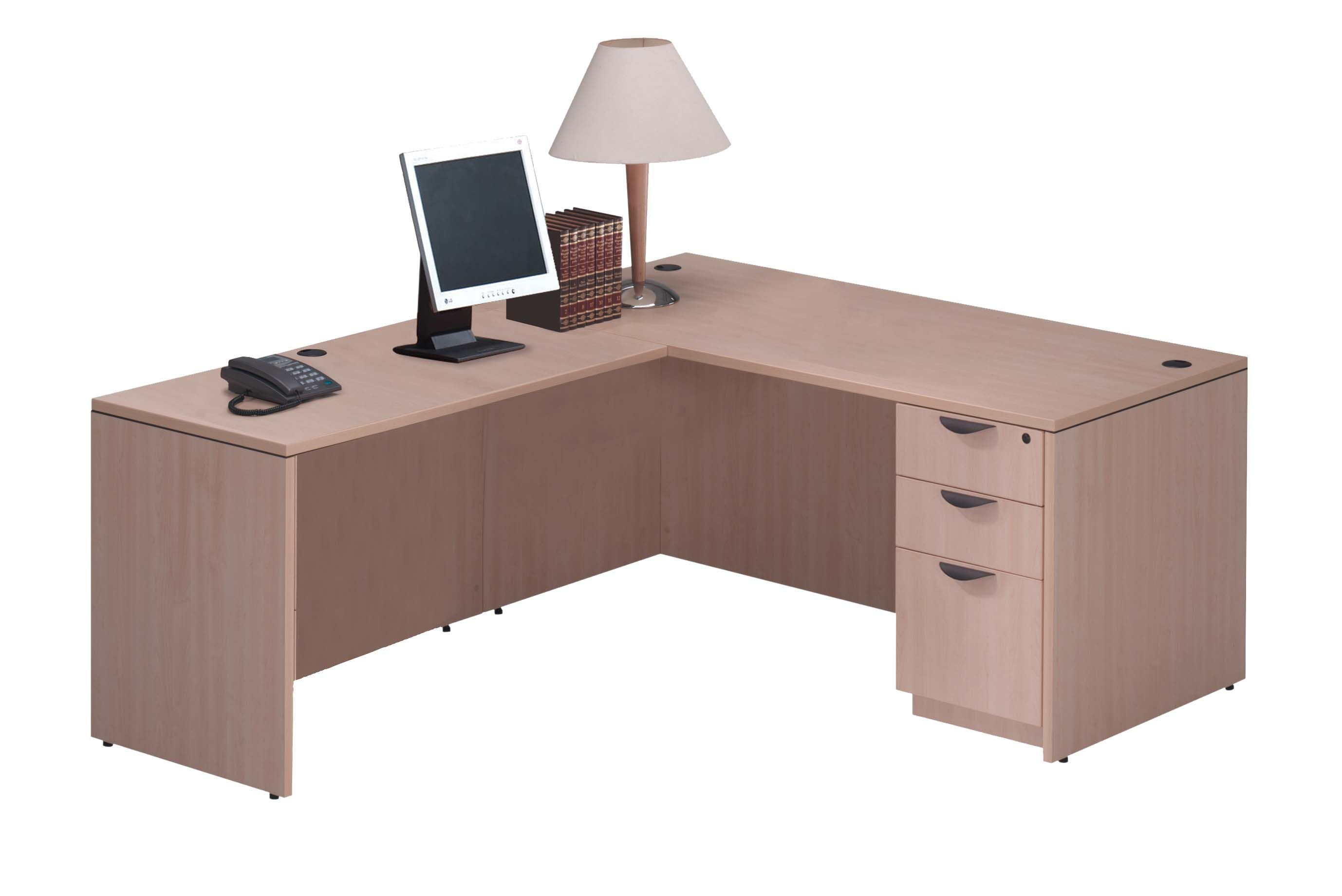 Maple Laminate L Shaped Desk With Boxbox Pedestal Color Choices